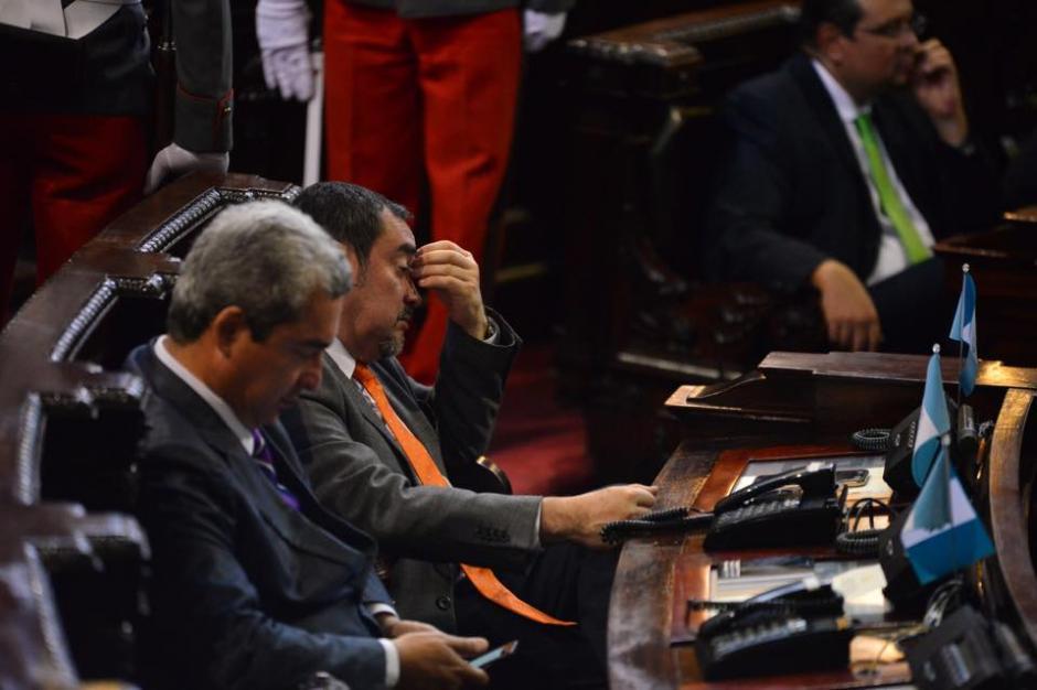 La propia bancada del Partido Patriota (PP) no estaba cómoda con el discurso de Maldonado. (Foto: Jesús Alfonso/Soy502)