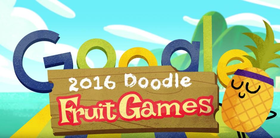 """Google ha nombrado al juego: """"Los juegos de las doodle Frutas 2016"""". (Captura de pantalla: Google/YouTube)"""