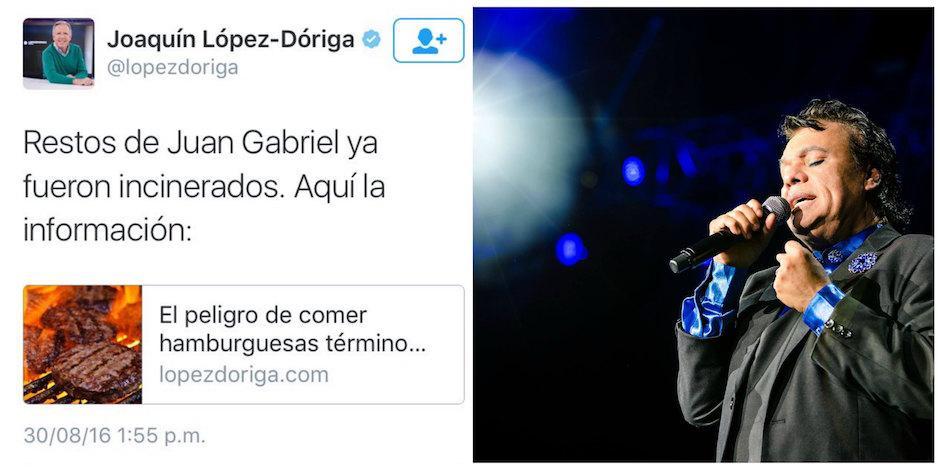 Joaquín López-Doriga se equivocó al compartir información sobre Juan Gabriel. (Foto: Clases de Periodismo)