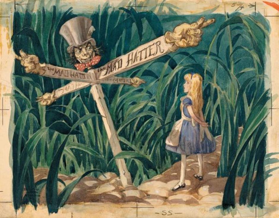 """Una escena de """"Alicia en el País de la Maravillas"""" realizada por el director de arte David Hall. (1951) (Foto: infobae.com)"""