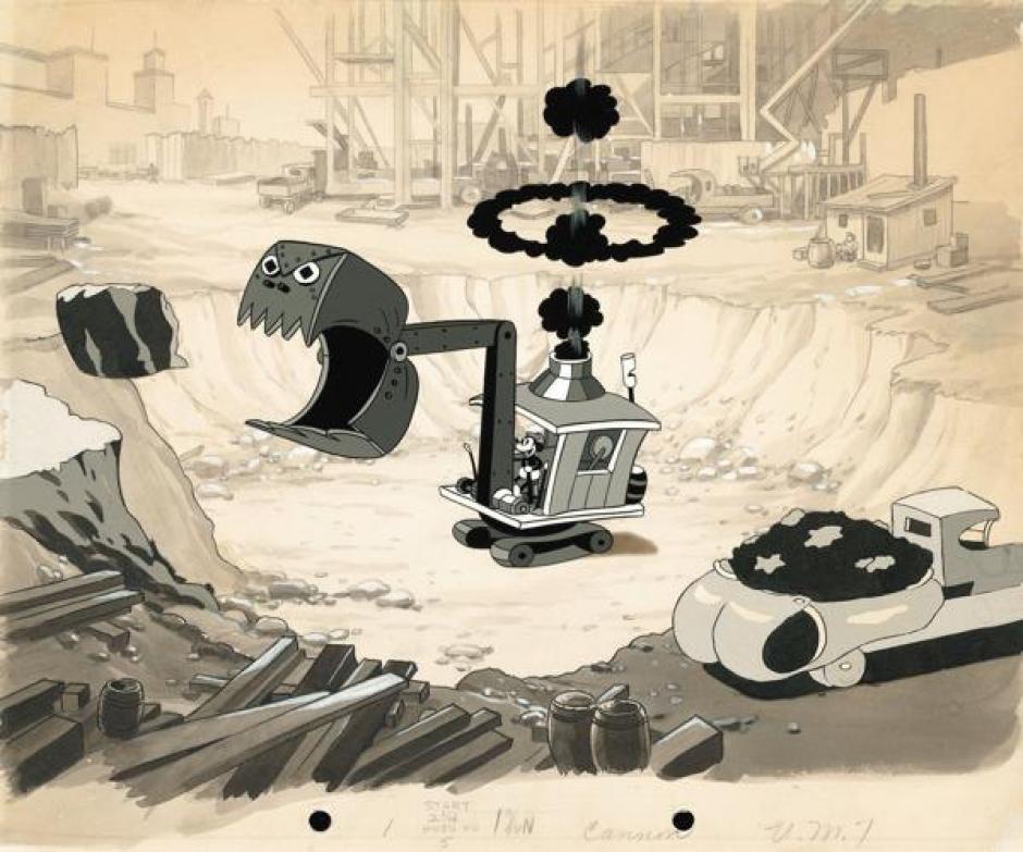 """Mickey Mouse y parte del corto animado """"Construyendo una Construcción"""" de 1933. (Foto: infobae.com)"""