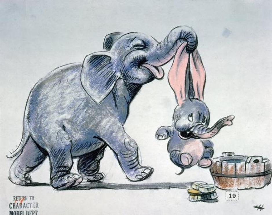Un boceto de Dumbo (1941) de Bill Peet.  (Foto: infobae.com)