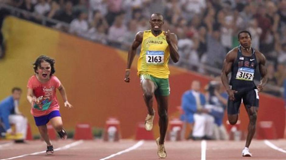 También la colocaron con el jamaiquino Usain Bolt. (Foto: Infobae)