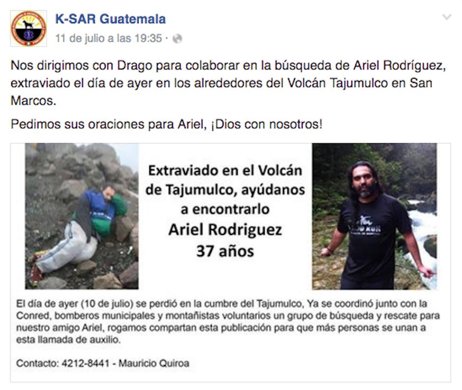 Tras enterarse de la noticia de la desaparición de un montañista en el Tajumulco, acudieron al llamado. (Foto: K-SAR Guatemala)