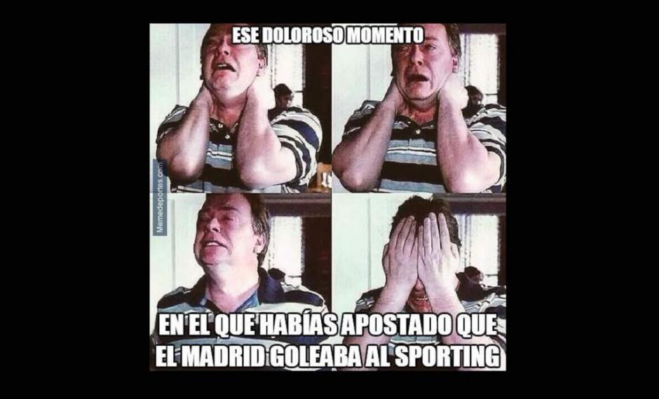 Una burla a todos los que apostaban que el Real Madrid golearía al recién ascendido Sporting de Gijón. (Imagen: laprensa.hn)