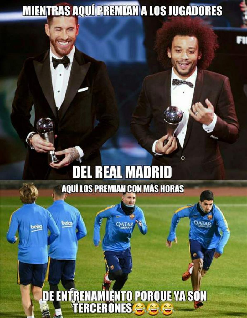 Los jugadores del Madrid y los del Barcelona. (Foto: Twitter)