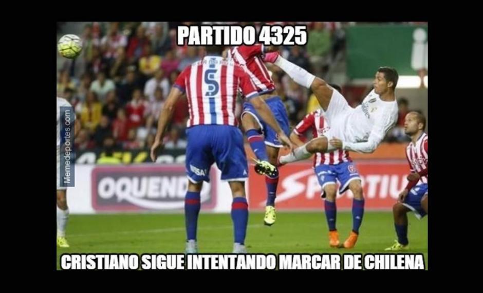 Cristiano Ronaldo sigue sin poder marcar de chilena. (Imagen: laprensa.hn)