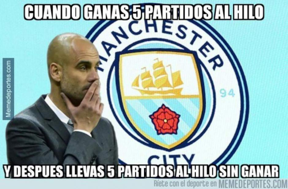 El City de Guardiola no se salvó, tras su mala racha sin ganar. (Foto: Twitter)