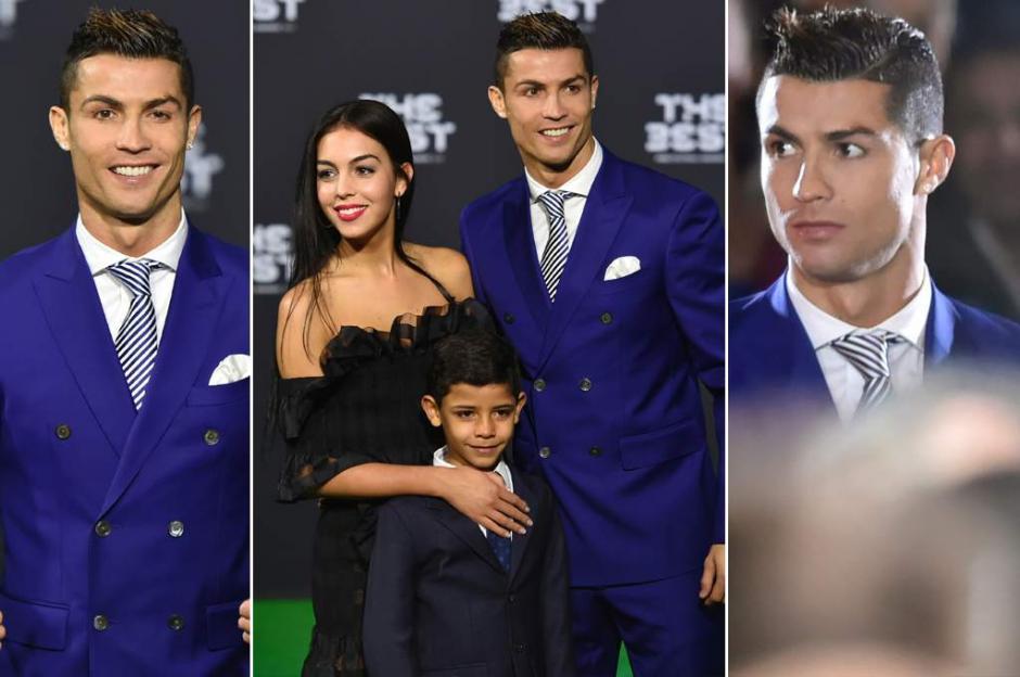 Ronaldo llegó a la gala con su novia, su hijo, su hermana y su madre. (Foto: Twitter)