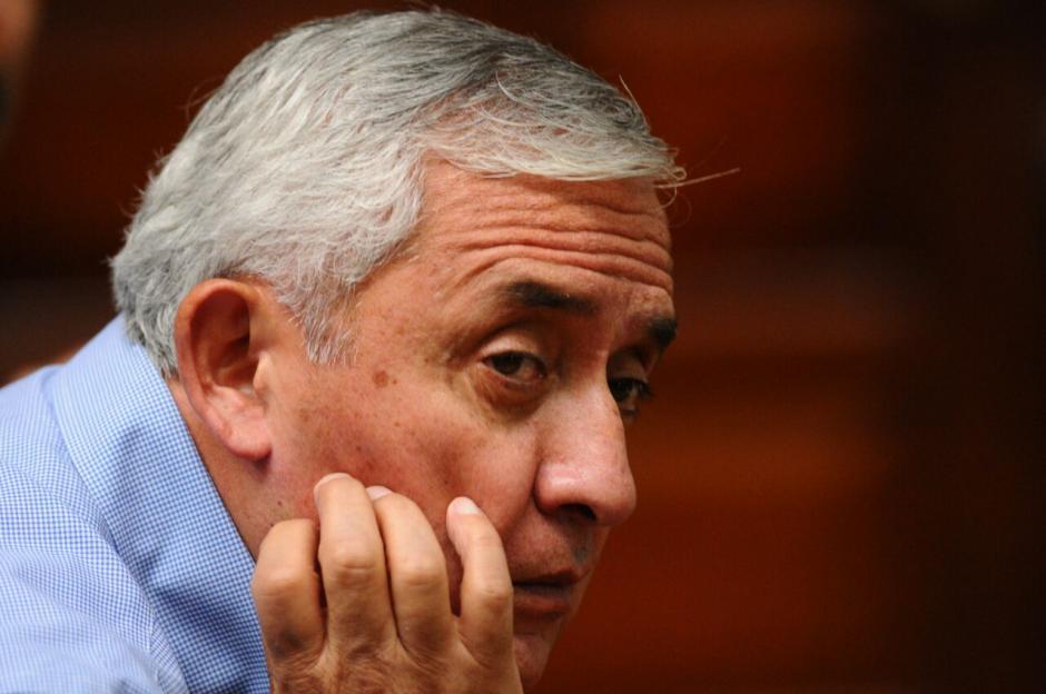 El expresidente Otto Pérez Molina durante la jornada número 11 de la audiencia de primera declaración por el caso Cooptación del Estado.  (Foto: Alejandro Balán/Soy502)
