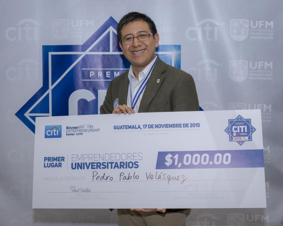 Pedro Pablo Velásquez, primer lugar de la categoría Estudiantes Universitarios. (Foto: Eddie Lara/Soy502)