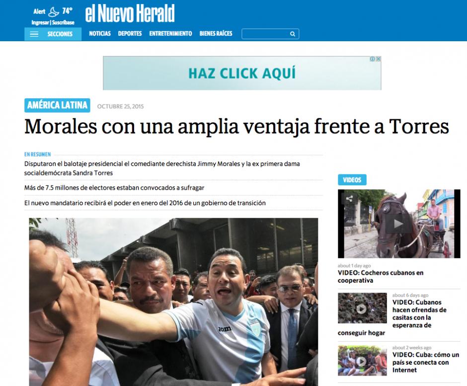 El diario estadounidense en español El Nuevo Herald también dedica un espacio en su sitio para el resultado.