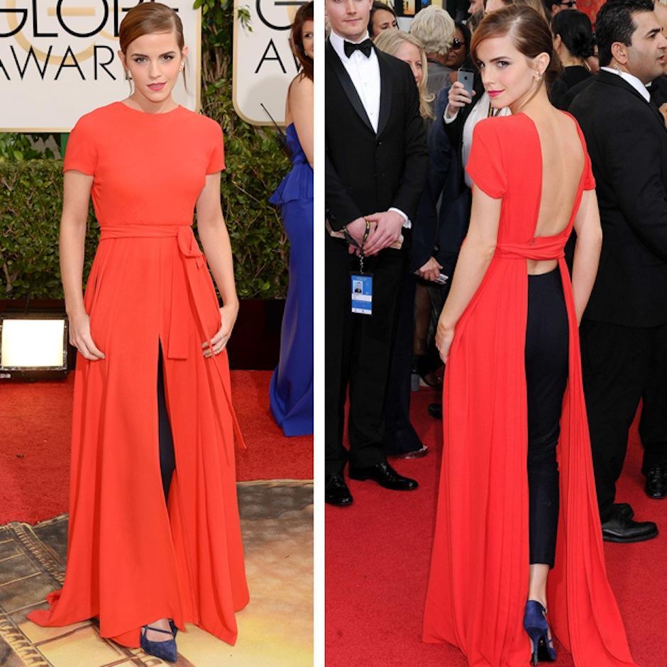 """Pocas estrellas desafían la gala con su """"outfitt"""", este año fue el turno de Emma Watson con su Dior Haute Couture sobre un pantalón negro. (Foto: Yahoo)"""
