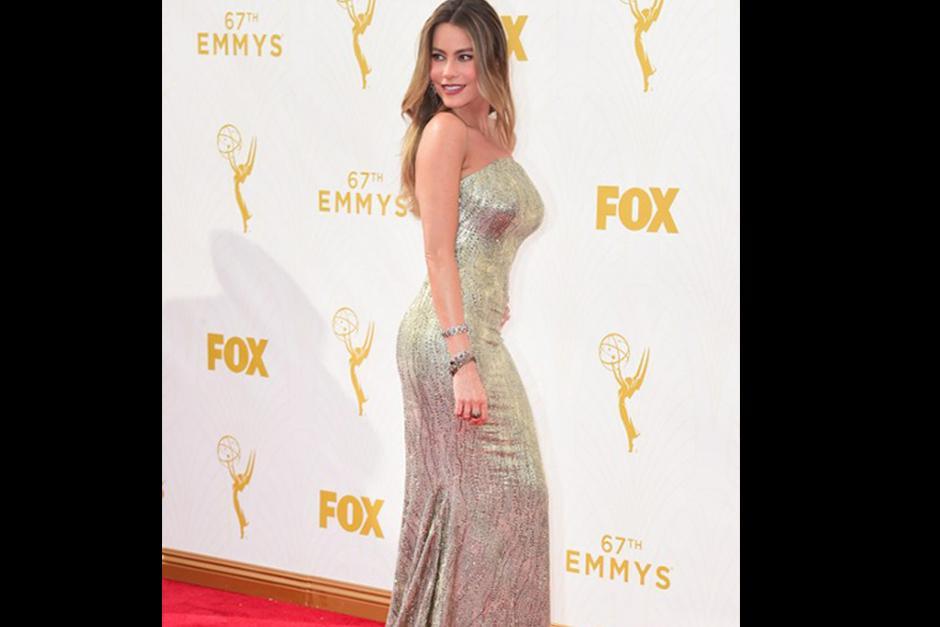 Sofía Vergara llegó acompañada de su prometidoJoe Manganiello en la alfombra roja de los premios Emmy 2015. (Foto: AFP)