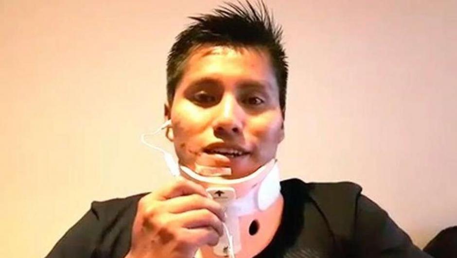 El técnico del vuelo siniestrado Erwin Tumiri, ya fue dado de alta del hospital. (Imagen: captura de pantalla)