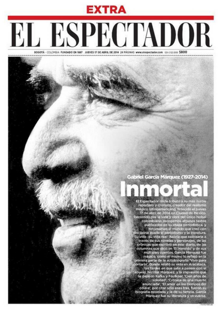 El diario El Espectador hizo circular una edición extra el jueves con motivo de la noticia del deceso del escritor colombiano. (Foto: Clases de Periodismo)