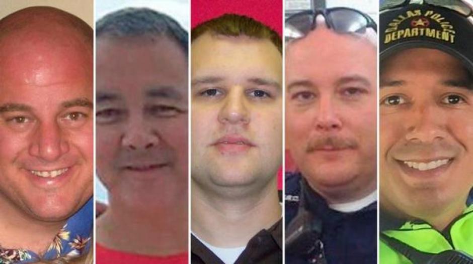 Estos son los cinco policías que murieron en Dallas, Texas el pasado jueves. (Foto: www.infobae.com)