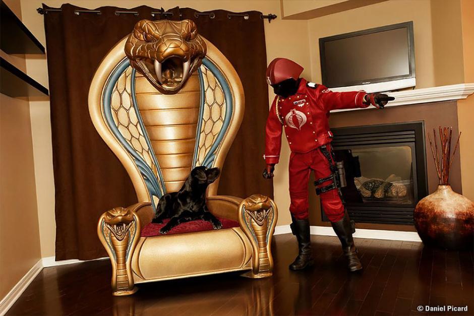 La lucha día a día del Comandante Cobra, su mascota se acomoda donde no debe. (Foto: Daniel Picard)