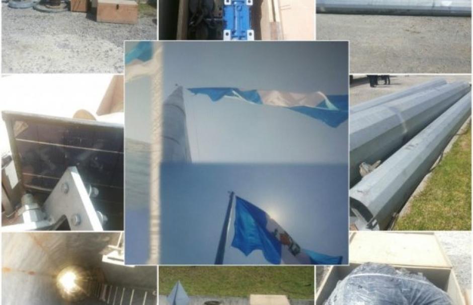 El asta mide unos 44 metros y el valor es de 33 mil dólares, la bandera está valorada en 500 dólares y el motor en 1 mil 500 dólares. (Foto: MP)