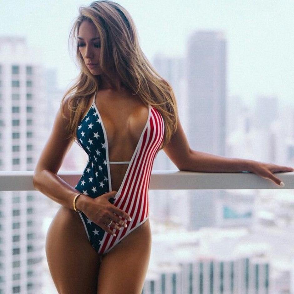 Con los colores de Estados Unidos también luce encantadora. (Foto: Livia Gullo)