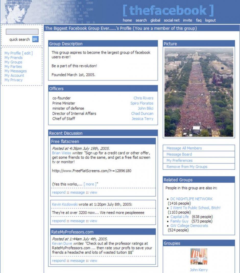 Primera versión de la página de perfil. (Tomado de ElPais.com)