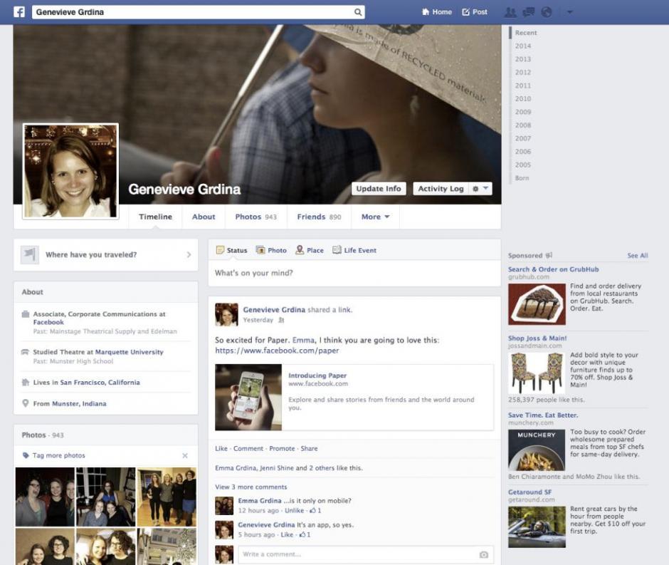 Página de perfil actual.(Tomado de ElPais.com)