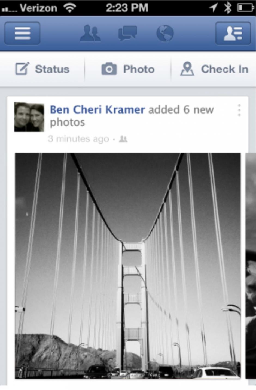 Actual apariencia de Facebook en el iPhone.(Tomado de ElPais.com)