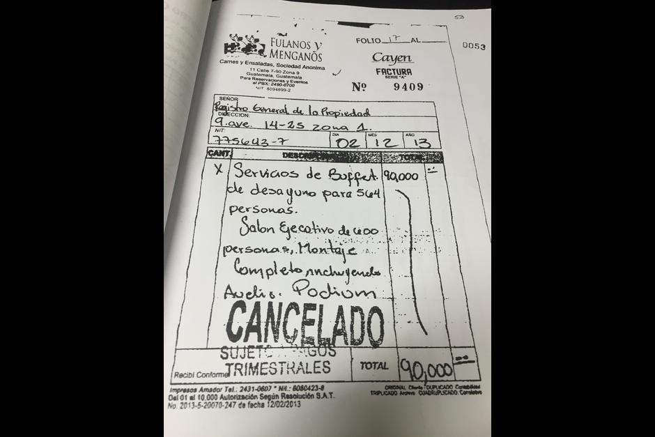 Esta es la factura que el hijo de Jimmy Morales habría facilitado al Registro de la Propiedad. (Foto: Soy502)