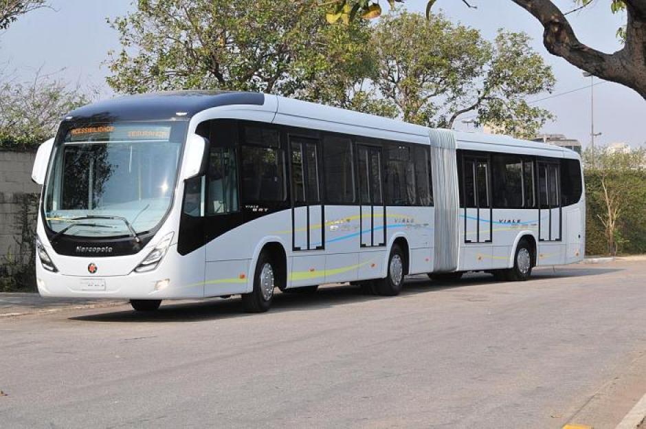 Los buses articulados llegarán a finales de año a Guatemala y empezarán a funcionar a partir de diciembre. (Foto: Marcopolo)