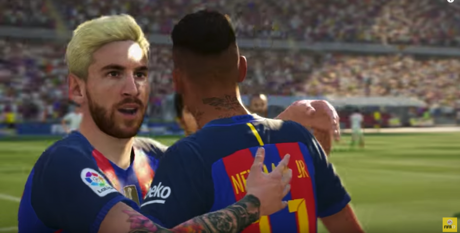 Lionel Messi luce con su cambio de imagen en el FIFA 17. (Captura de pantalla: EA Sports FIFA/YouTube)