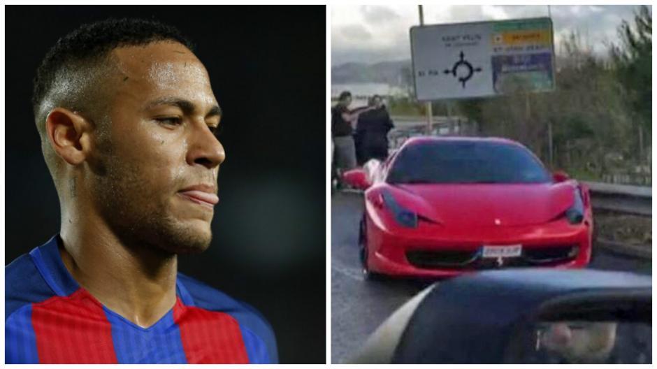 Neymar salió ileso, pero su Ferrari no. (Fotos: AFP/Captura de Pantalla)