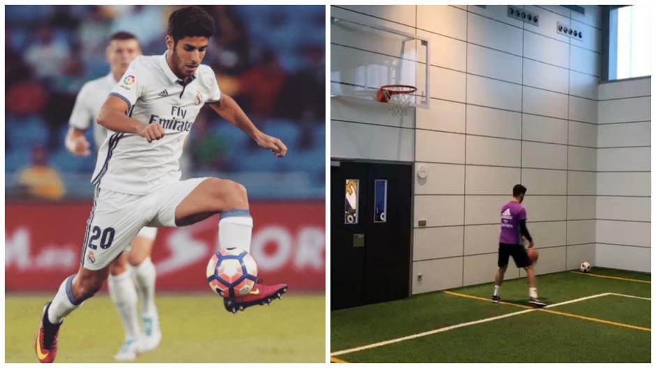 Marco Asensio también se las puede con el baloncesto. (Fotos: Instagram)