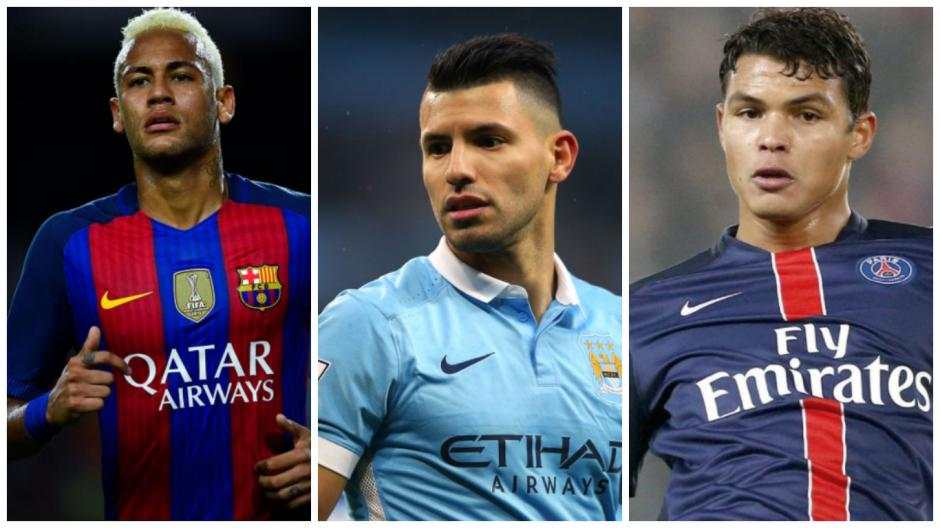 Neymar, el Kun y Thiago Silva son parte de la lista. (Fotos: AS, Goal.com, Gazzeta.it)
