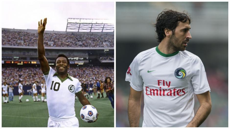 Pelé y Raúl terminaron sus carreras en el Cosmos. (Fotos: Wikipedia/AS)