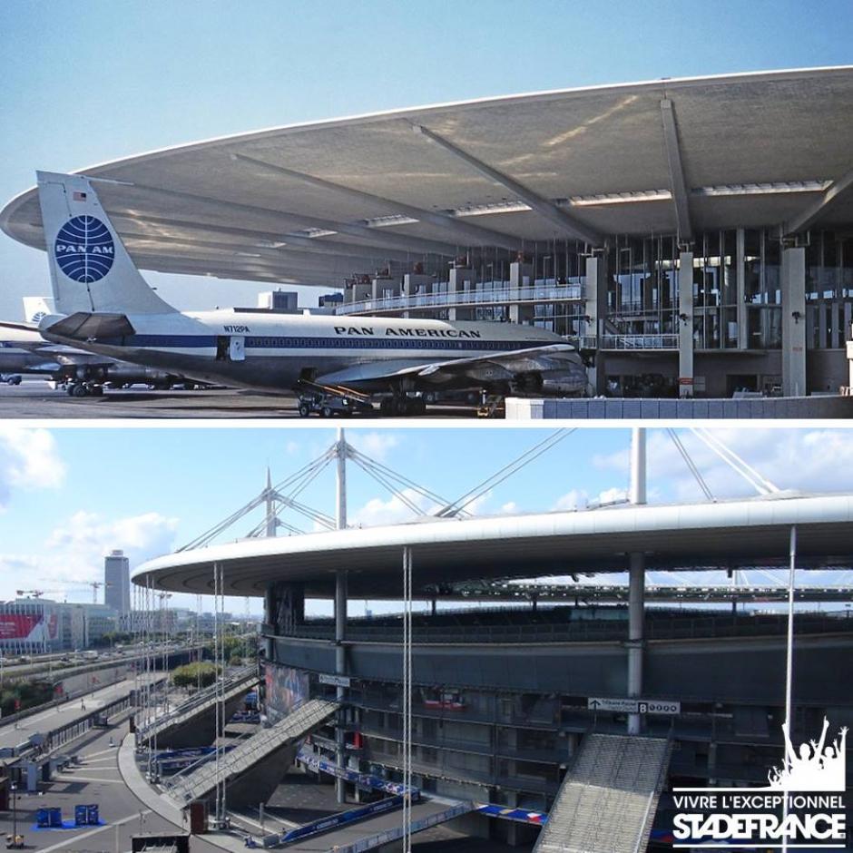 Está inspirado en las oficinas de la aerolínea de Panam instaladas en el aeropuerto J.F. Kennedy de Nueva York. (Foto: Facebook/Stade de France)