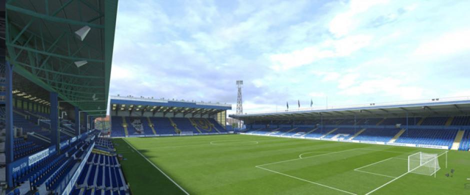 El Fratton Park (Portsmouth FC, League Two, Inglaterra). (Imagen:Electronic Arts)