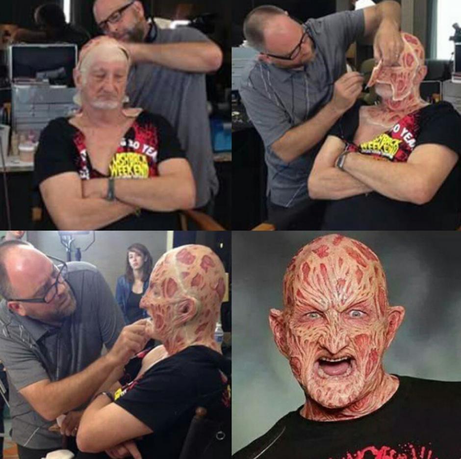 Así elaboran el rostro de Englund para convertirlo en Freddy Krueger. (Foto: Robert B. Englund/Instagram)