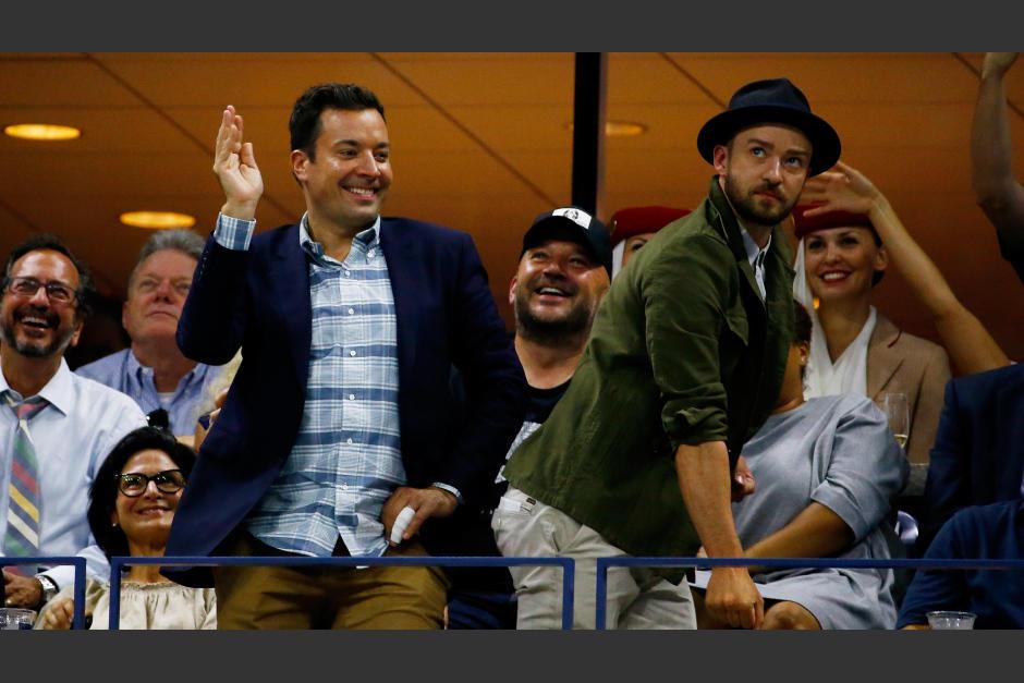 Fimmy Fallon y Justin Timberlake pusieron la nota cómica durante un juego de Roger Federer