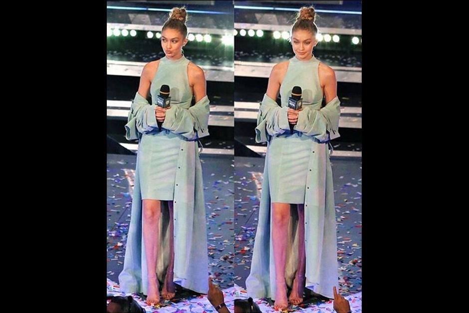 Gigi atrajo todas las miradas gracias a su estilismo. (Foto: AFP)
