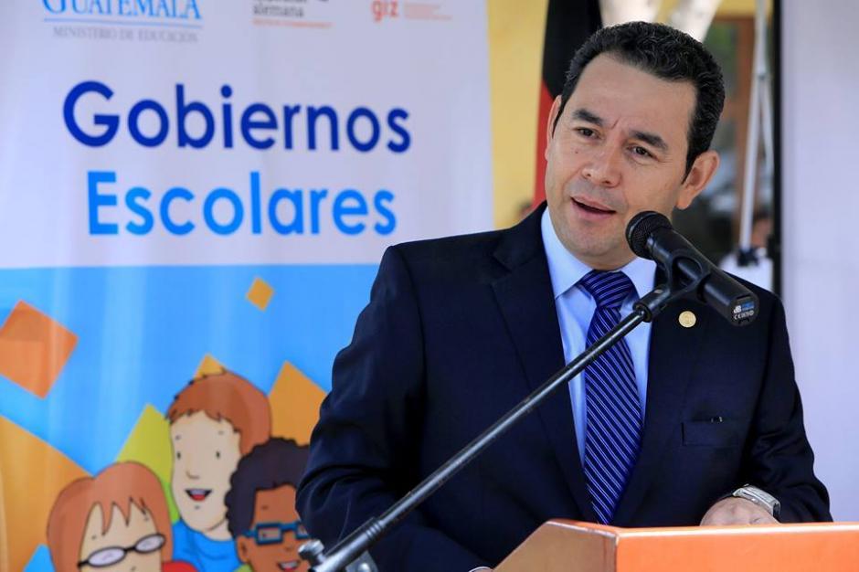 Presidente Jimmy Morales da un discurso sobre democracia. (Foto: Presidencia)