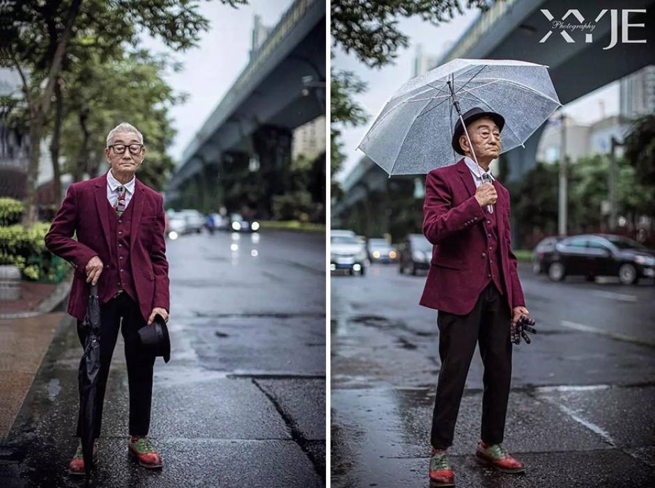 Para esta sesión de fotos, el abuelo junto a su nieto recorrieron diversas partes de la ciudad. (Foto: XiaoYeJieXi)