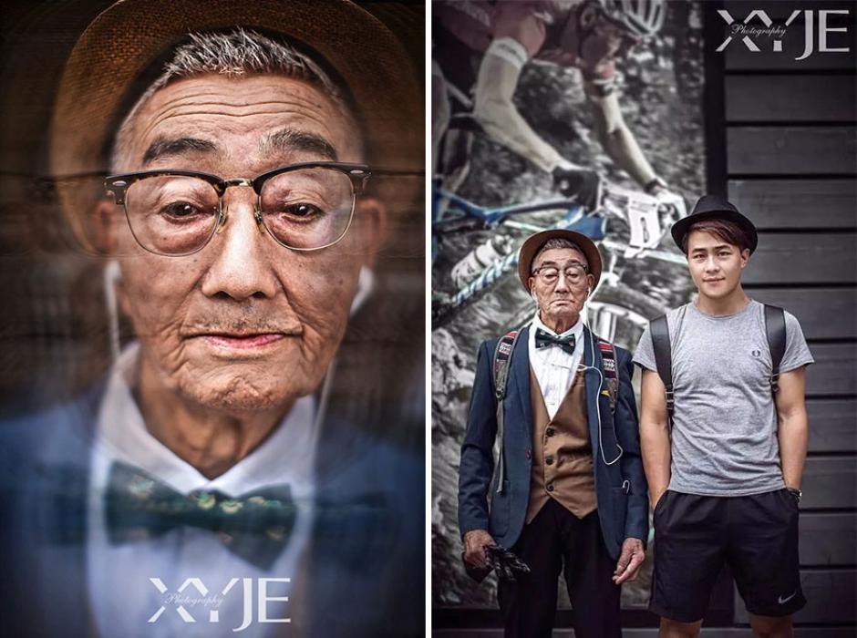 En esta fotografía se puede observar al abuelo y su nieto, este último es el responsable de este cambio de look extremo. (Foto: XiaoYeJieXi)