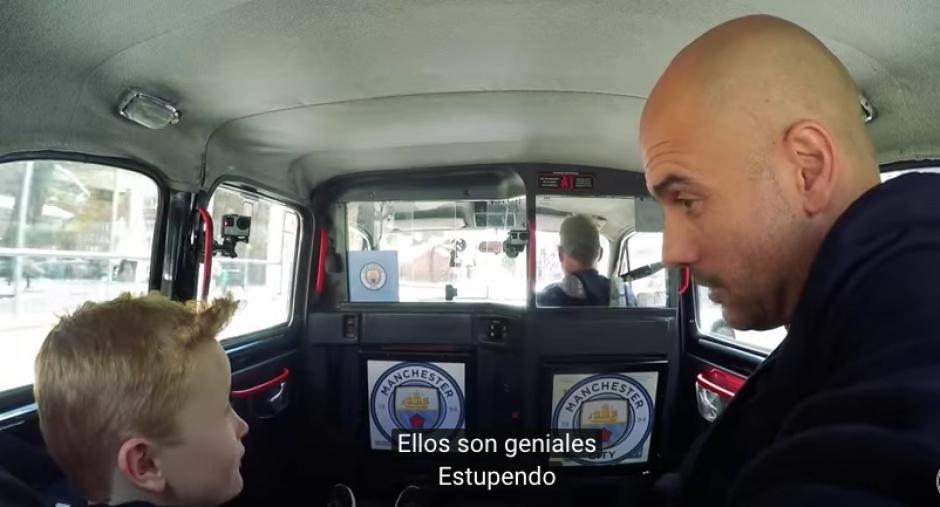 """Pep le preguntó al niño cómo eran los fanáticos del City y el contestó muy seguro """"Son geniales"""".  (Foto: Captura de YouTube)"""