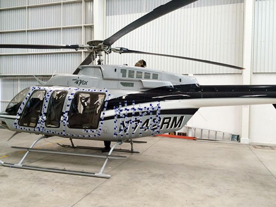 Este es el helicóptero que fue embargado, según imágenes de una investigación de elPeriódico. (Foto: elPeriódico)