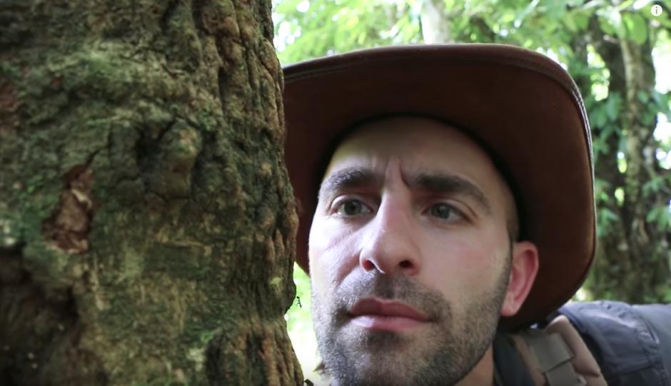 Coyote Peterson observa como caminan las hormigas cortadoras de hojas en la selva de Costa Rica. (Captura de pantalla: Brave Wilderness/YouTube)