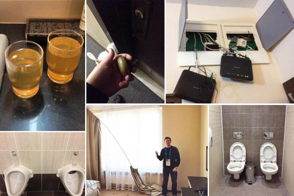 Decenas de reporteros y atletas han subido fotografías sobre las condiciones de los hoteles en Sochi, Rusia.