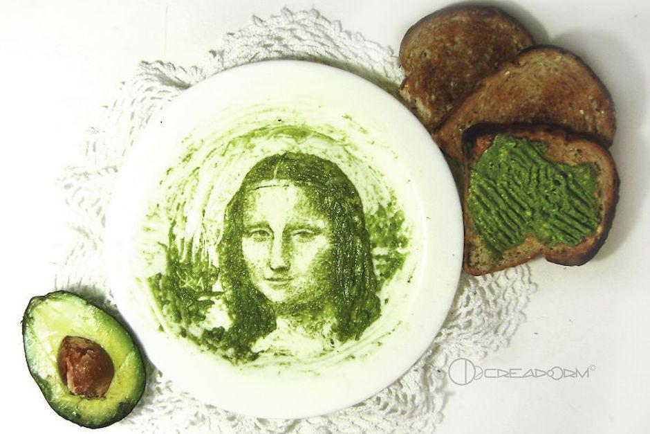 La Mona LIsa como nunca la habías visto antes: hecha con aguacate.  (Foto: mashable.com)