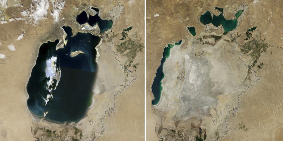 La imagen de la izquierda muestra al Mar Aral en el 2000 y la de la derecha en 2016. (Foto: huffingtonpost.es)