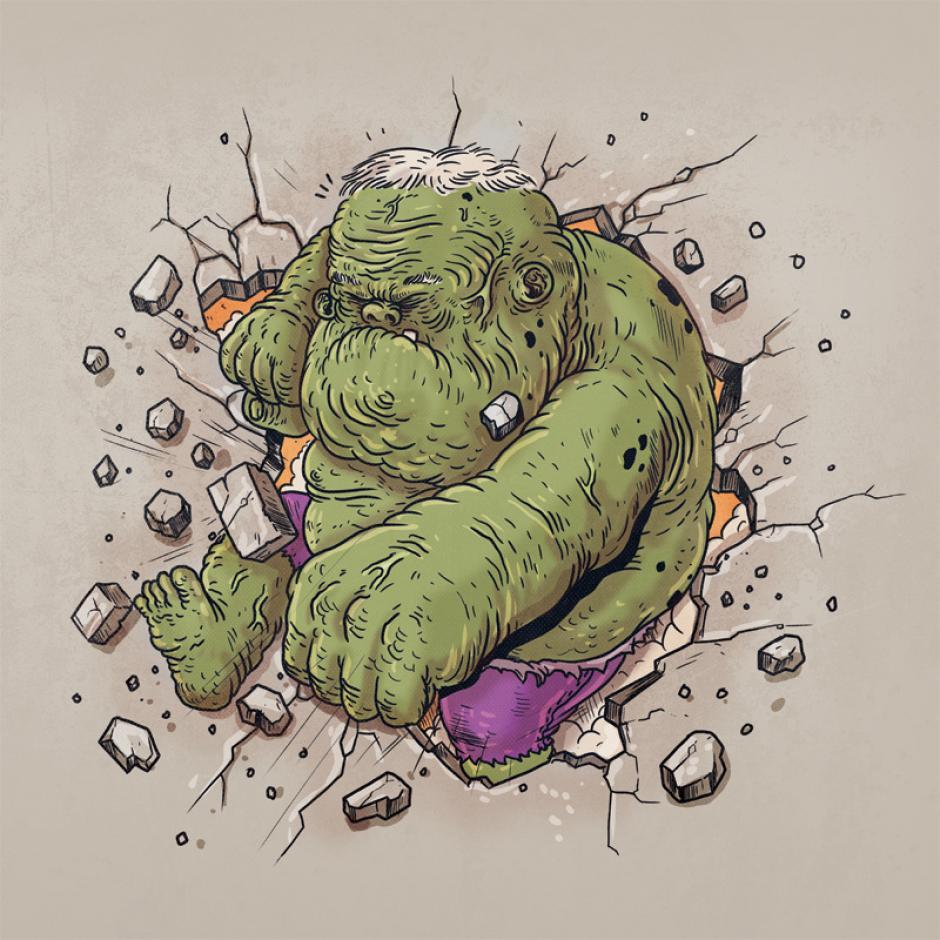 No hay nada imposible con la fuerza del gigante Hulk, a su edad no hay pared que pueda contra su furia. (Foto: Alex Solis)