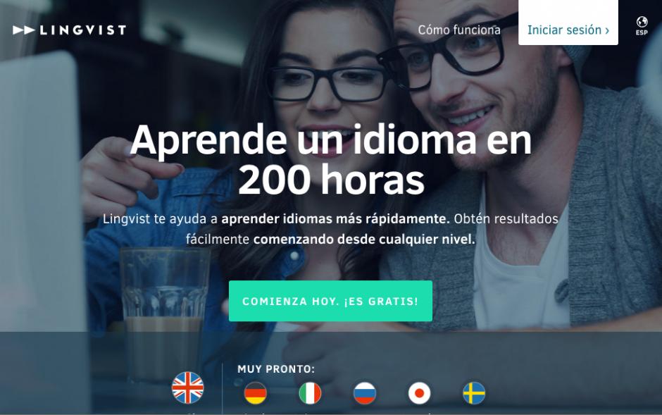 """Para aprender inglés en 200 horas debes empezar con dar clic en """"Comienza hoy"""". (Foto: Lingvist)"""